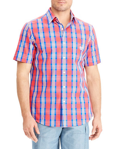 Chaps Plaid Short-Sleeve Sport Shirt-ORANGE-Small
