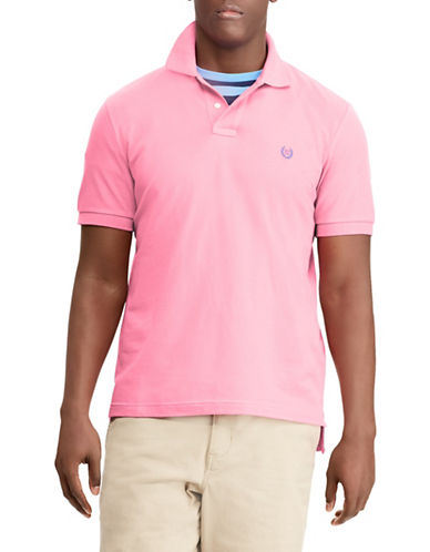 Chaps Cotton Mesh Polo-PINK-Small