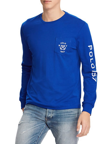 Polo Ralph Lauren Custom Slim-Fit Cotton Jersey Tee-BLUE-Medium 89881146_BLUE_Medium