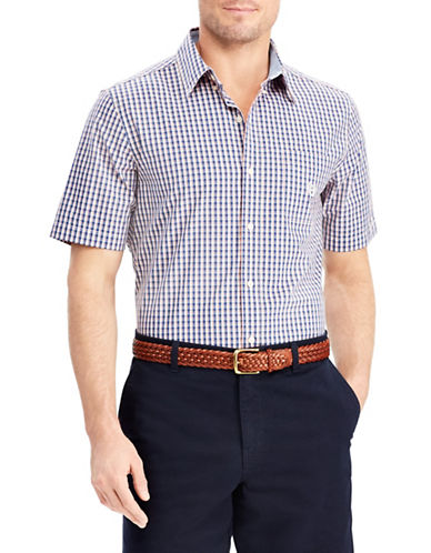 Chaps Big and Tall Plaid Short-Sleeve Sport Shirt-NAVY BLUE-2X Tall