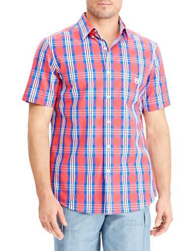 Chaps Big and Tall Plaid Short-Sleeve Sport Shirt-ORANGE-Large Tall