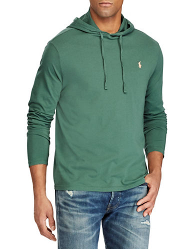 Polo Ralph Lauren Long-Sleeve Cotton Jersey Hooded Tee-GREEN-Medium