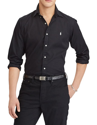 Polo Ralph Lauren Classic-Fit Cotton Sport Shirt-POLO BLACK-Large 89880942_POLO BLACK_Large