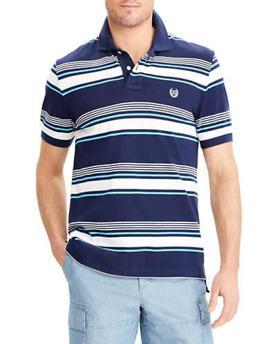 Chaps Big and Tall Stretch Mesh Striped Polo-NAVY-Large Tall