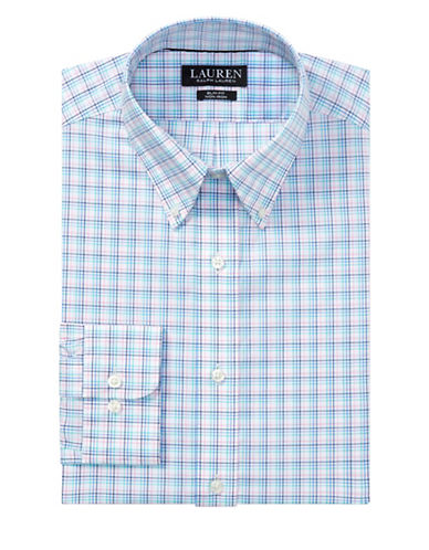 Lauren Ralph Lauren Slim Fit No-Iron Cotton Dress Shirt-BLUE-16-32/33