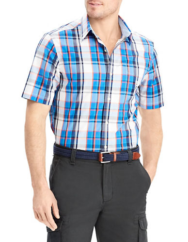 Chaps Big and Tall Plaid Short-Sleeve Sport Shirt-BLUE-3X Big