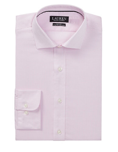 Lauren Ralph Lauren Slim Fit No-Iron Cotton Dress Shirt-PINK-17.5-32/33