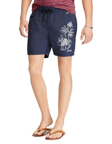 Polo Ralph Lauren Graphic Swim Trunks-NAVY-Large