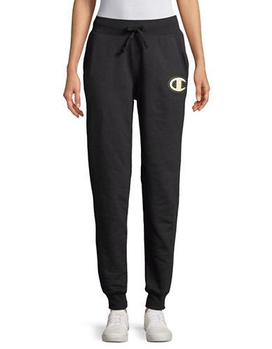 Champion Felt Applique Fleece Jogger Pants-BLACK-Small 89747365_BLACK_Small