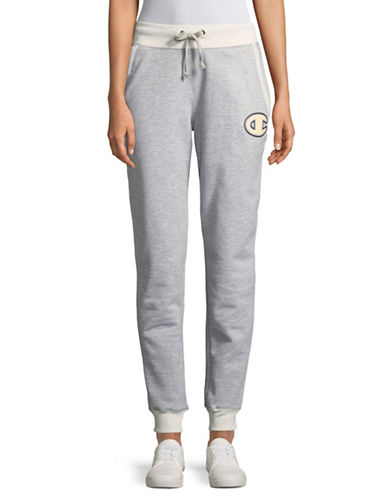 Champion Felt Applique Fleece Jogger Pants-GREY-Medium