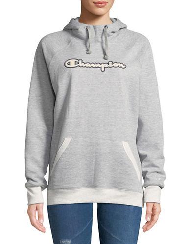 Champion Fleece Drawstring Hoodie-GREY-Medium