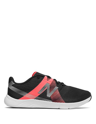 New Balance Womens Stripe Slip-On Sneakers-BLACK/CORAL-9.5