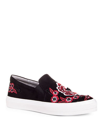 Nine West Womens Onyeka Floral Platform Sneakers-BLACK/MULTI-7