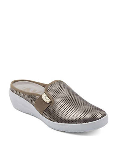 Anne Klein Metallic Slip-On Mules-BEIGE-7