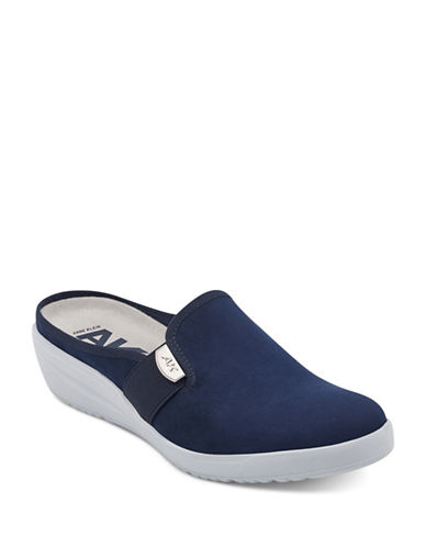 Anne Klein Metallic Slip-On Mules-BLUE-8