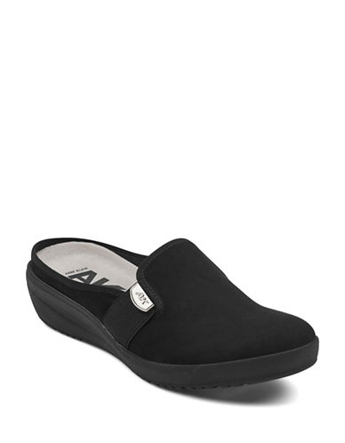 Anne Klein Metallic Slip-On Mules-BLACK-9.5