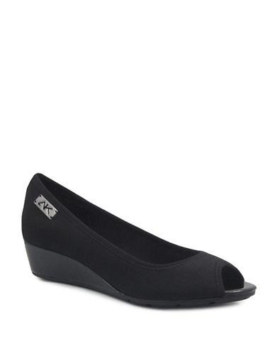 Anne Klein Camrynne2 Peep Toe Wedge Heels-BLACK-8.5