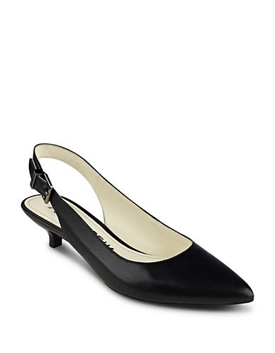 Anne Klein Expert Point Toe Slingback Pumps-BLACK-9