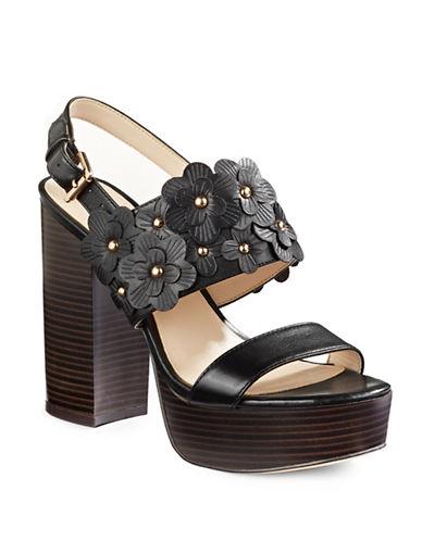 Nine West Kimmy Platform Leather Sandals-BLACK-7.5