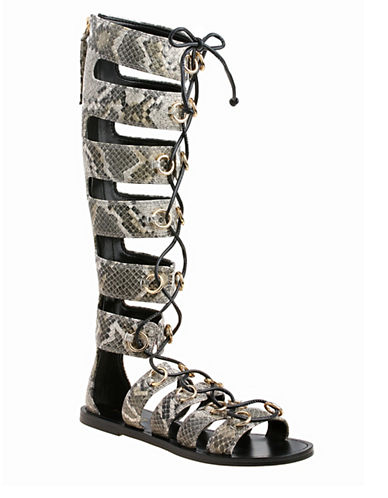 Nine West Tirion3 Tall Leather Gladiator Sandals-NATURAL-7