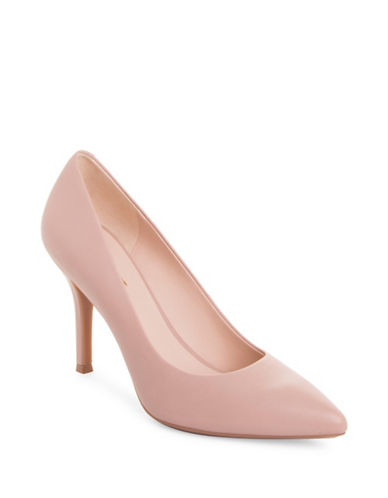 Nine West Monochrome Leather Pumps-PINK-5.5