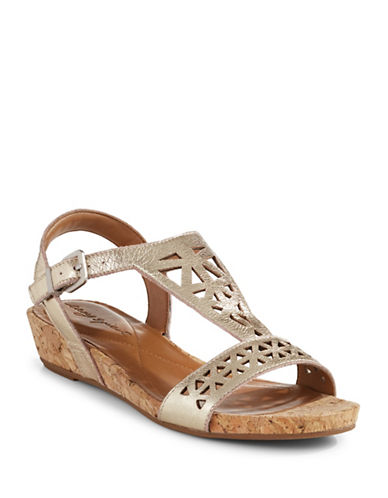 Easy Spirit Nyleen Leather Cut-Out Wedge Sandals-GOLD-5.5