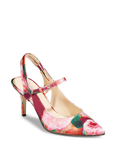 Nine West Kookie Slingback Heels-PINK/MULTI-9.5