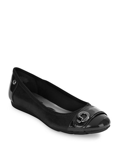 Anne Klein Azi Cap Toe Flats-BLACK-10