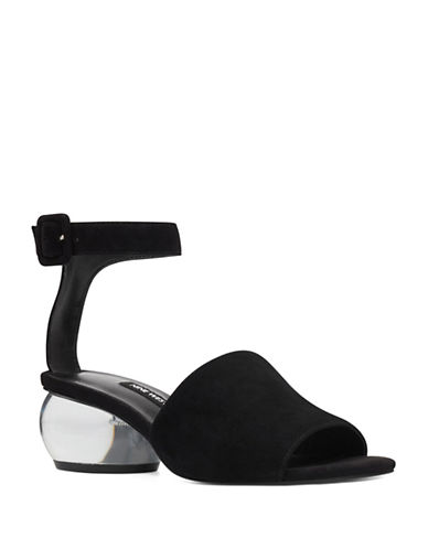 Nine West Enyo Suede Ankle-Strap Sandals-BLACK-10