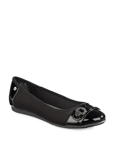 Anne Klein Azi Buckle Flats-BLACK-5.5