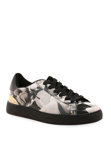 Nine West Palyla Printed Leather Sneakers-BLACK/WHITE-10 88507758_BLACK/WHITE_10
