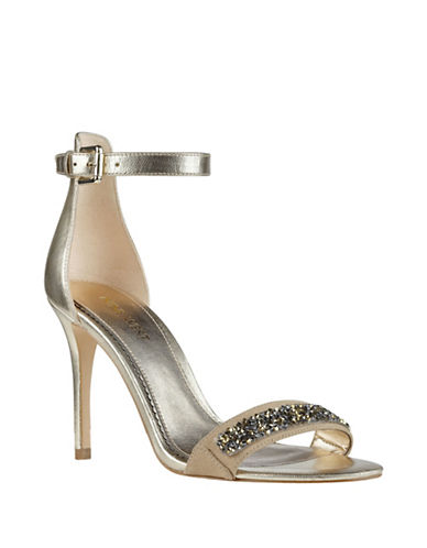 Nine West Mana Embellished Sandals-GOLD-8