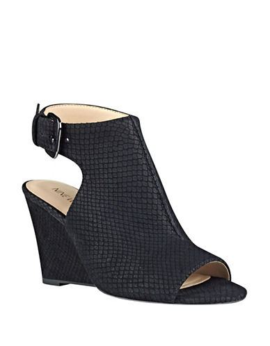 Nine West Gorana Nubuck Wedge Sandals-BLACK-8