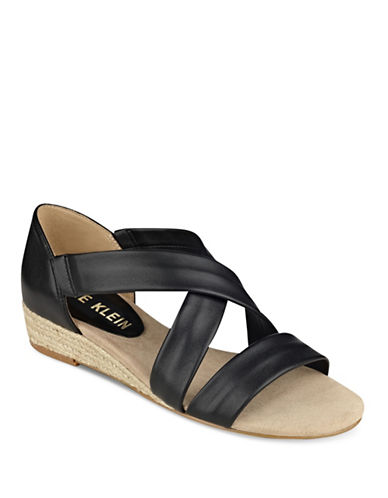 Anne Klein Nicco Leather Sandals-BLACK-7.5