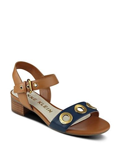 Anne Klein Ellamae Leather Sandals-BROWN-8.5