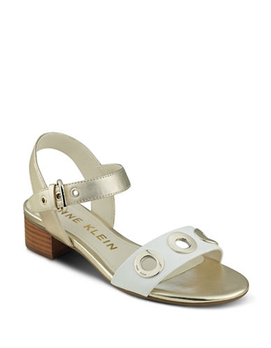 Anne Klein Ellamae Leather Sandals-GOLD-8