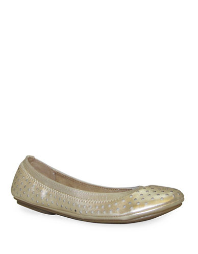 Bandolino Eland Perforated Ballet Flats-GOLD-7.5