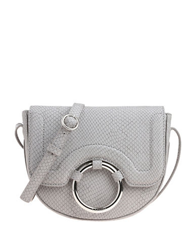 Nine West Adelina Snake-Embossed Saddle Bag-GREY-One Size