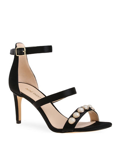Nine West Austen Studded Ankle Strap Sandals-BLACK-8