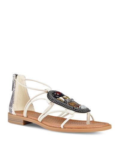 Nine West Beaded Gladiator Sandals-WHITE-9