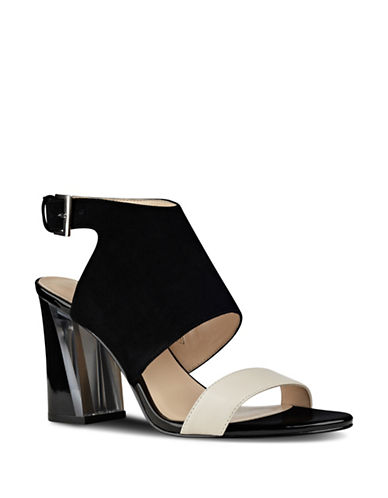 Nine West Mosh Suede Block Heel Sandals-BLACK-8