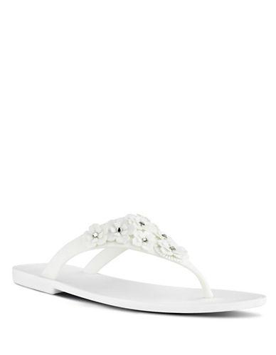 Nine West Floral Embellished Flip-Flops-WHITE-10