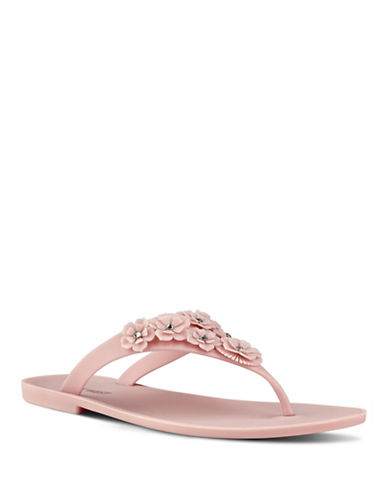 Nine West Floral Embellished Flip-Flops-PINK-10