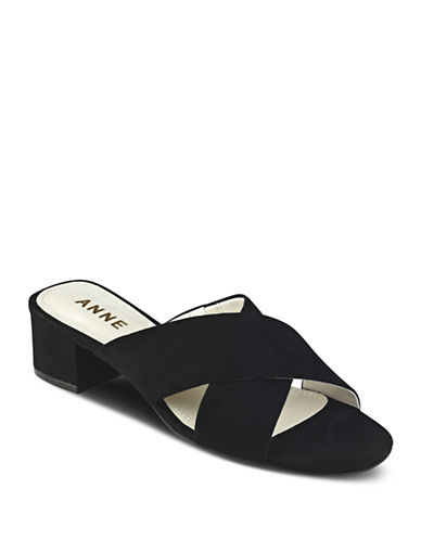 Anne Klein Sansa Strappy Suede Sandals-BLACK-6