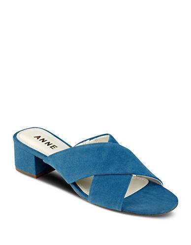 Anne Klein Sansa Strappy Suede Sandals-BLUE-5.5