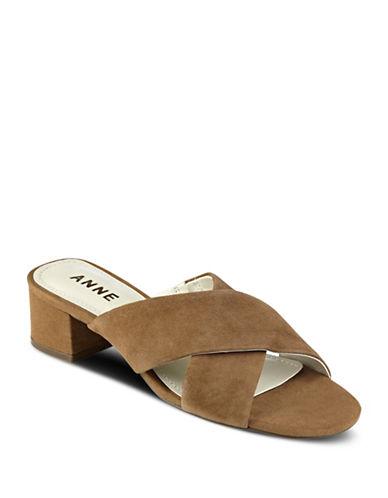 Anne Klein Sansa Strappy Suede Sandals-NATURAL-6.5