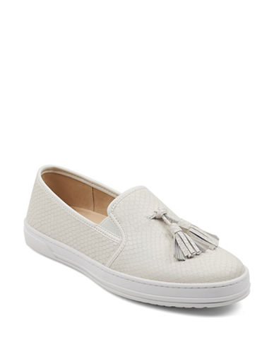 Anne Klein Zane Leather Slip-On Sneakers-IVORY-7.5