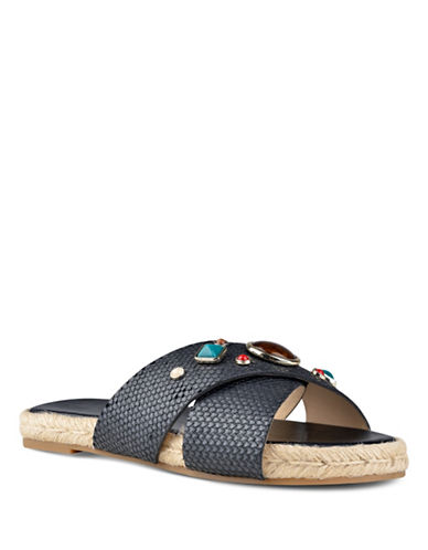 Nine West Beaded Leather Flat Sandals-BLACK-6.5