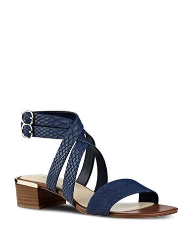 Nine West Snake-Embossed Leather Sandals-BLUE-8