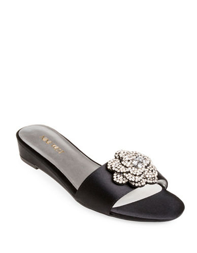 Nine West Thisbe Embellished Flower Slide Sandals-BLACK-8